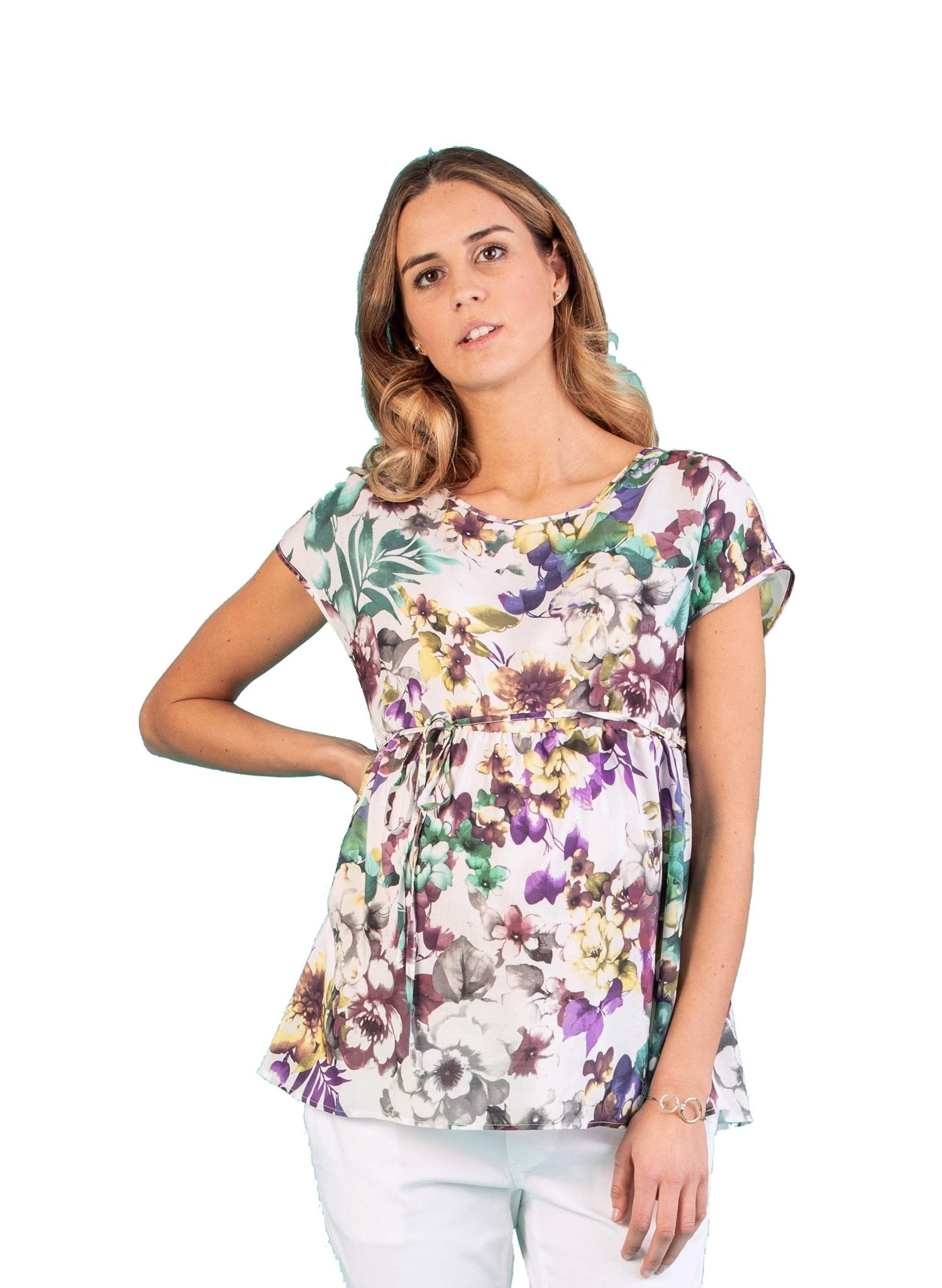 Floral Printed Maternity Top with Side String - Mums and Bumps