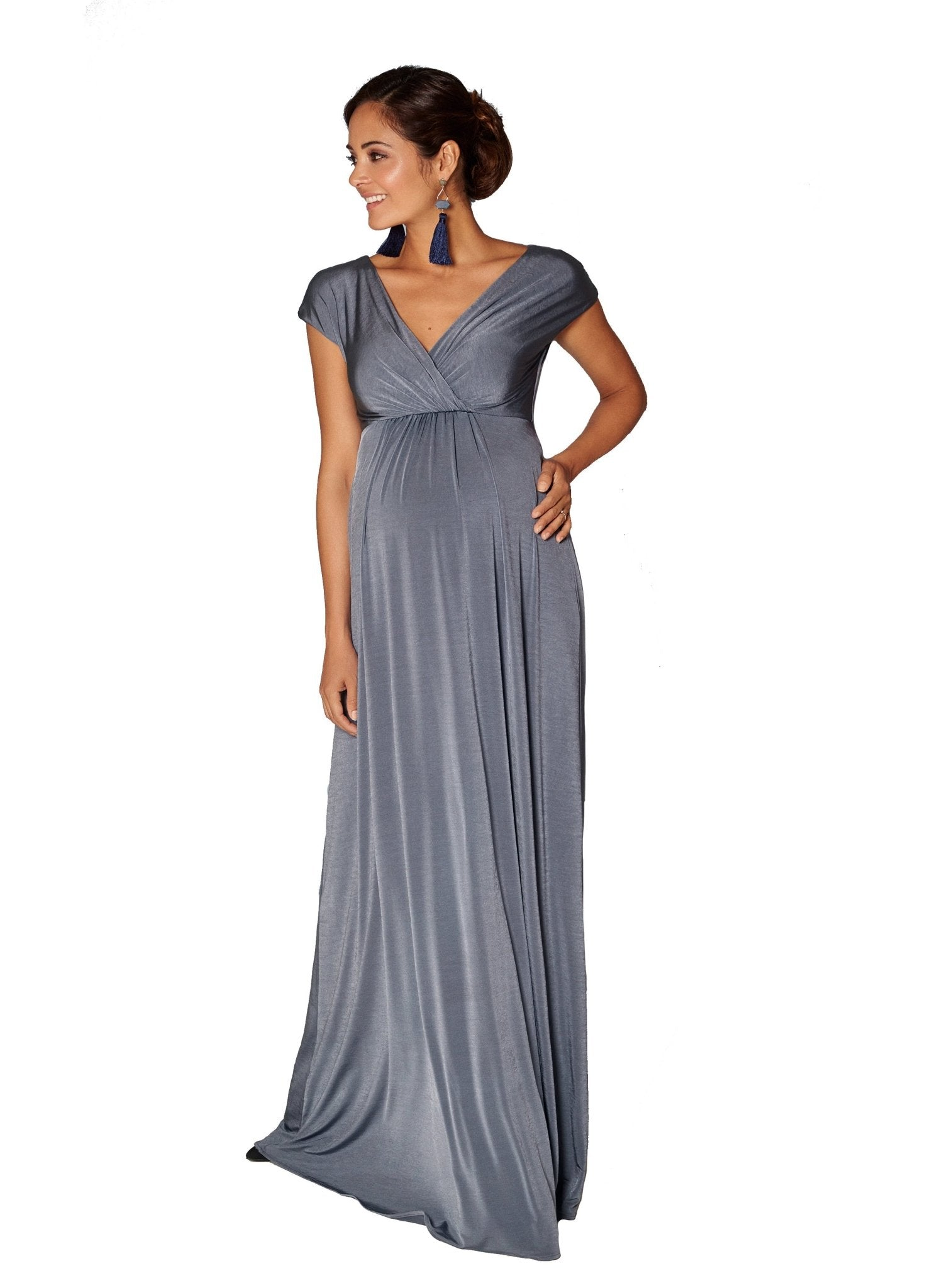 Francesca Maternity Maxi Dress - Steel Blue - Mums and Bumps