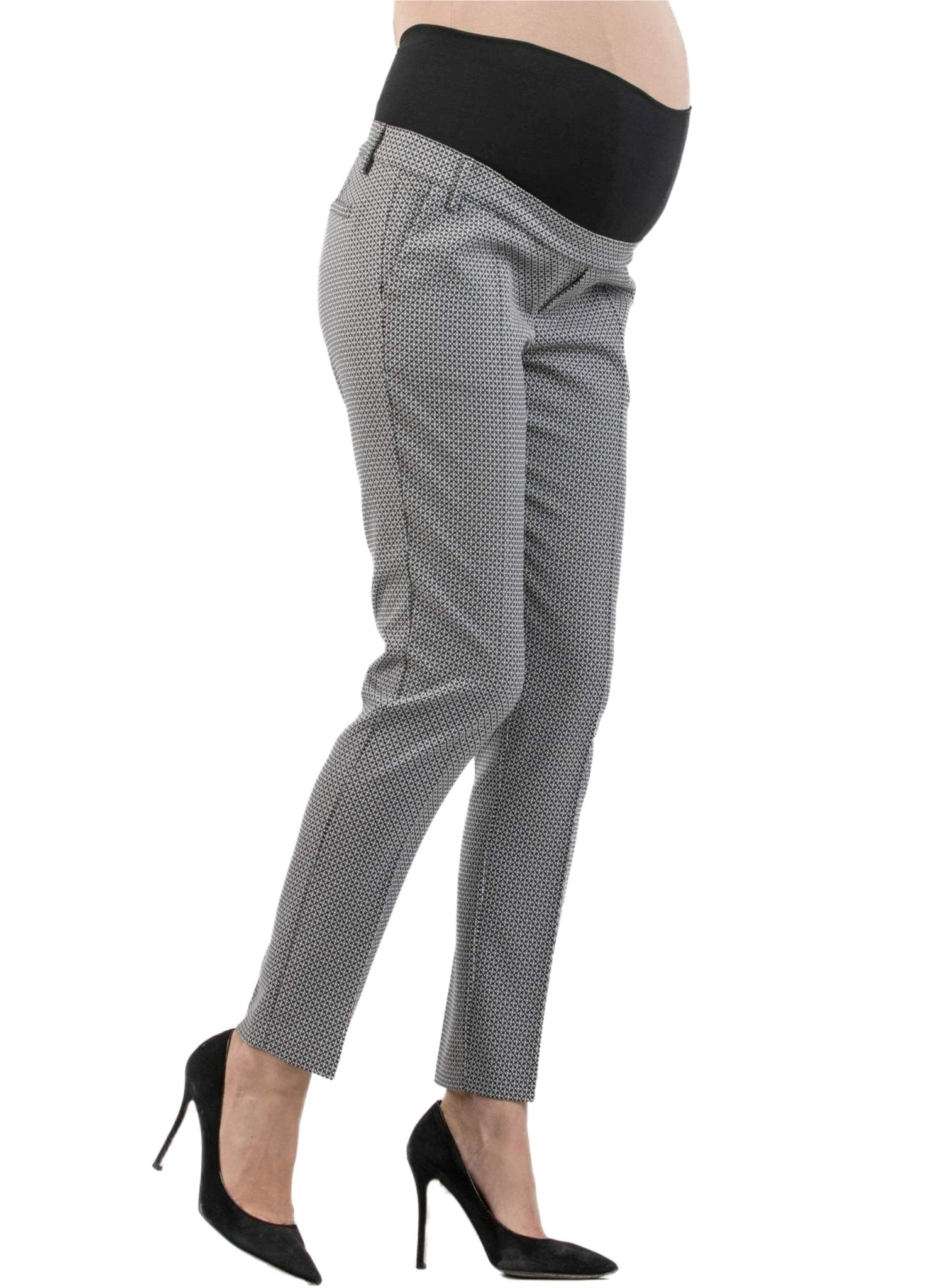 Jacquard Tailored Maternity Trousers - Mums and Bumps