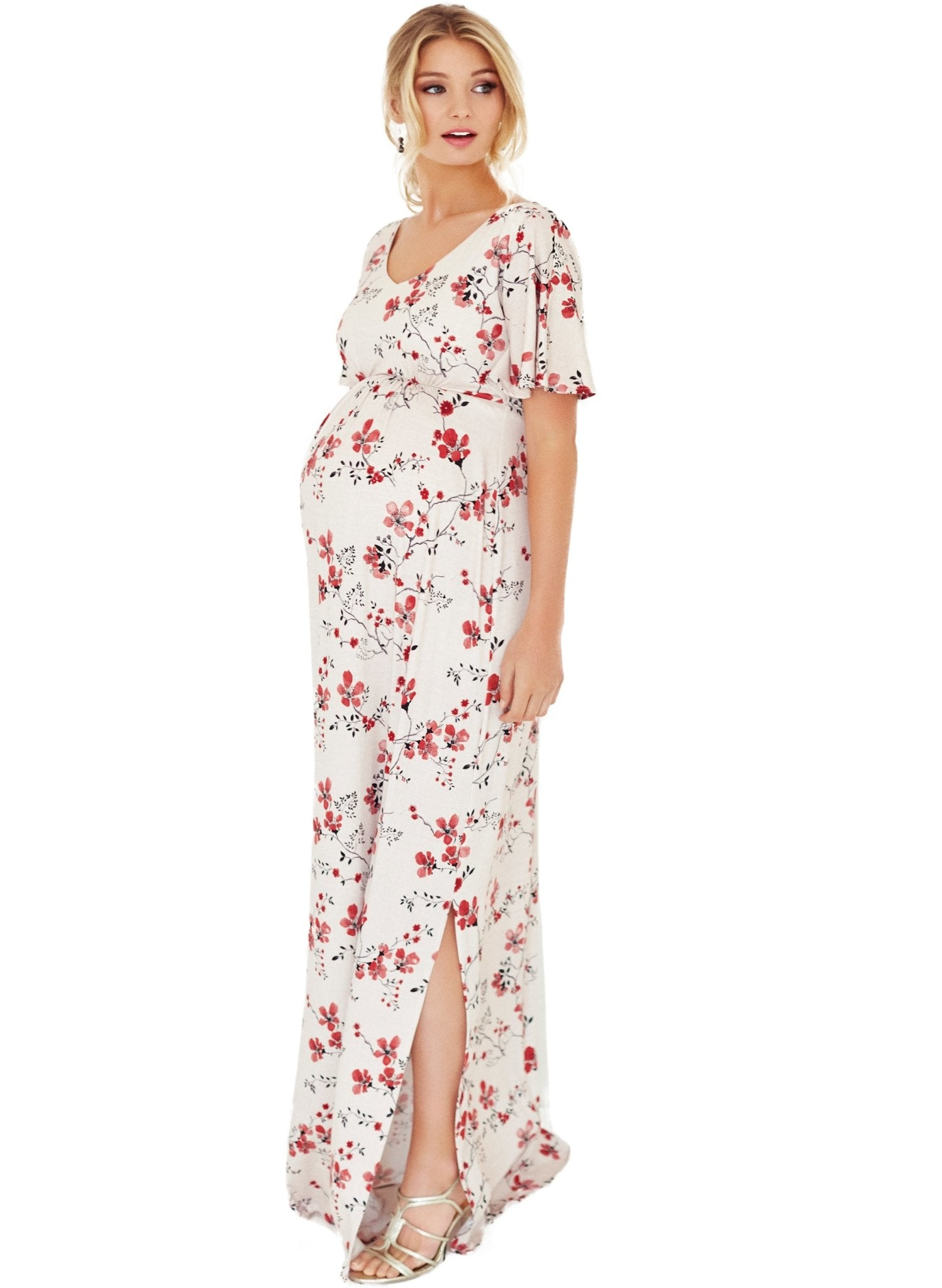 Kimono Maternity Maxi Dress - Cherry Blossom - Mums and Bumps