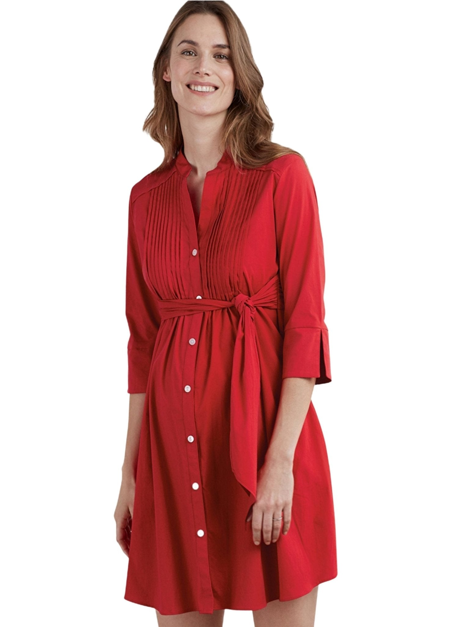 Libby Tunic Maternity Shirt - Red - Mums and Bumps