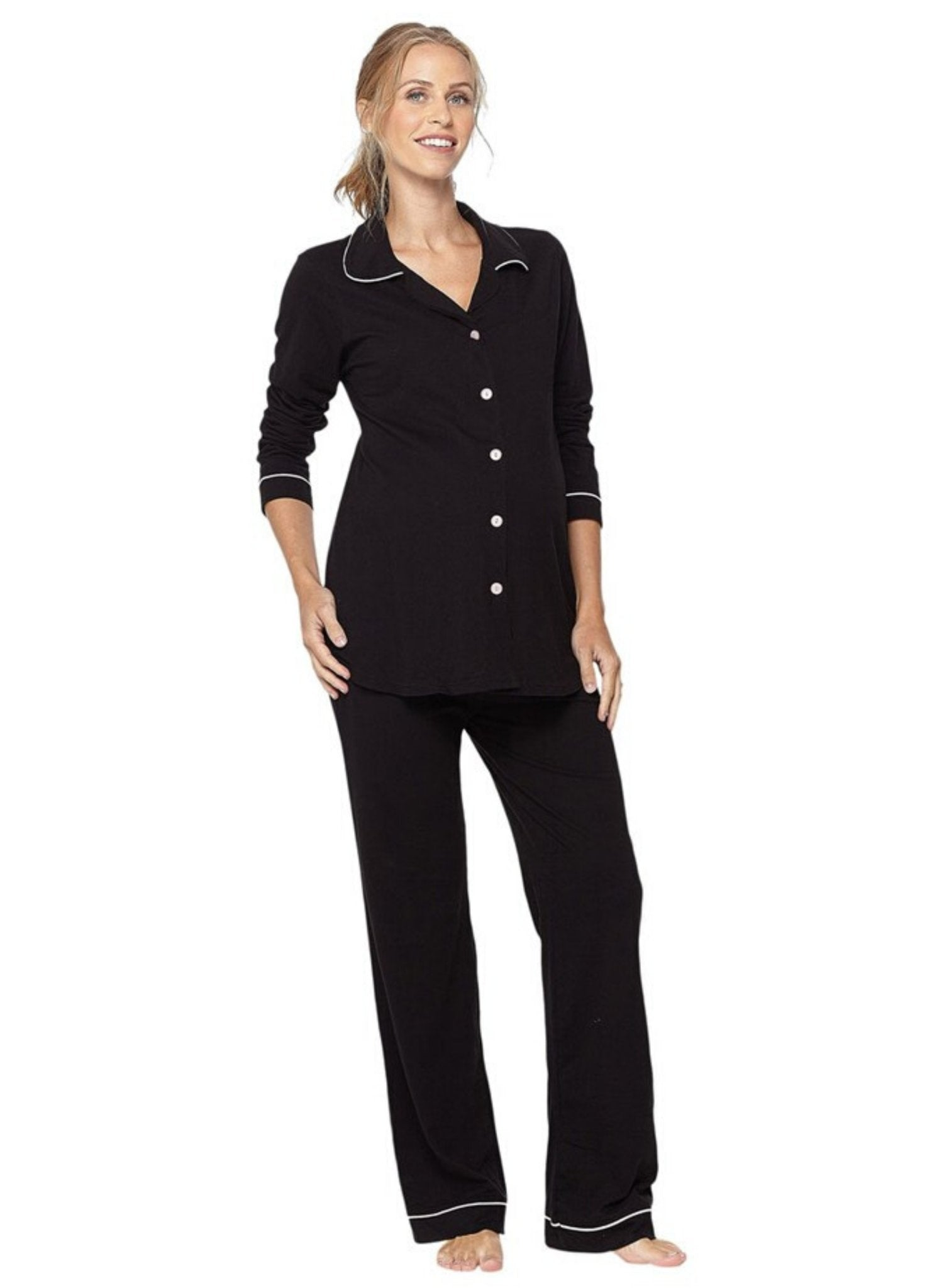 Lounge Chic Classic Maternity & Nursing PJ - Black - Mums and Bumps