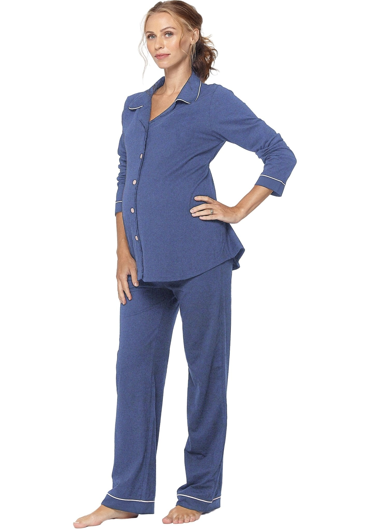 Lounge Chic Classic Maternity & Nursing PJ - Chambray Marl - Mums and Bumps
