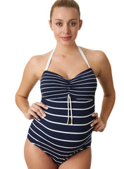 Marine Pique Stripe One Piece Maternity Swimsuit - Mums and Bumps