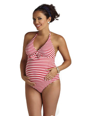 Marine Striped Red One Piece Maternity Swimsuit - Mums and Bumps