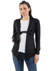 Maternity Cardigan with Belt - Black - Mums and Bumps