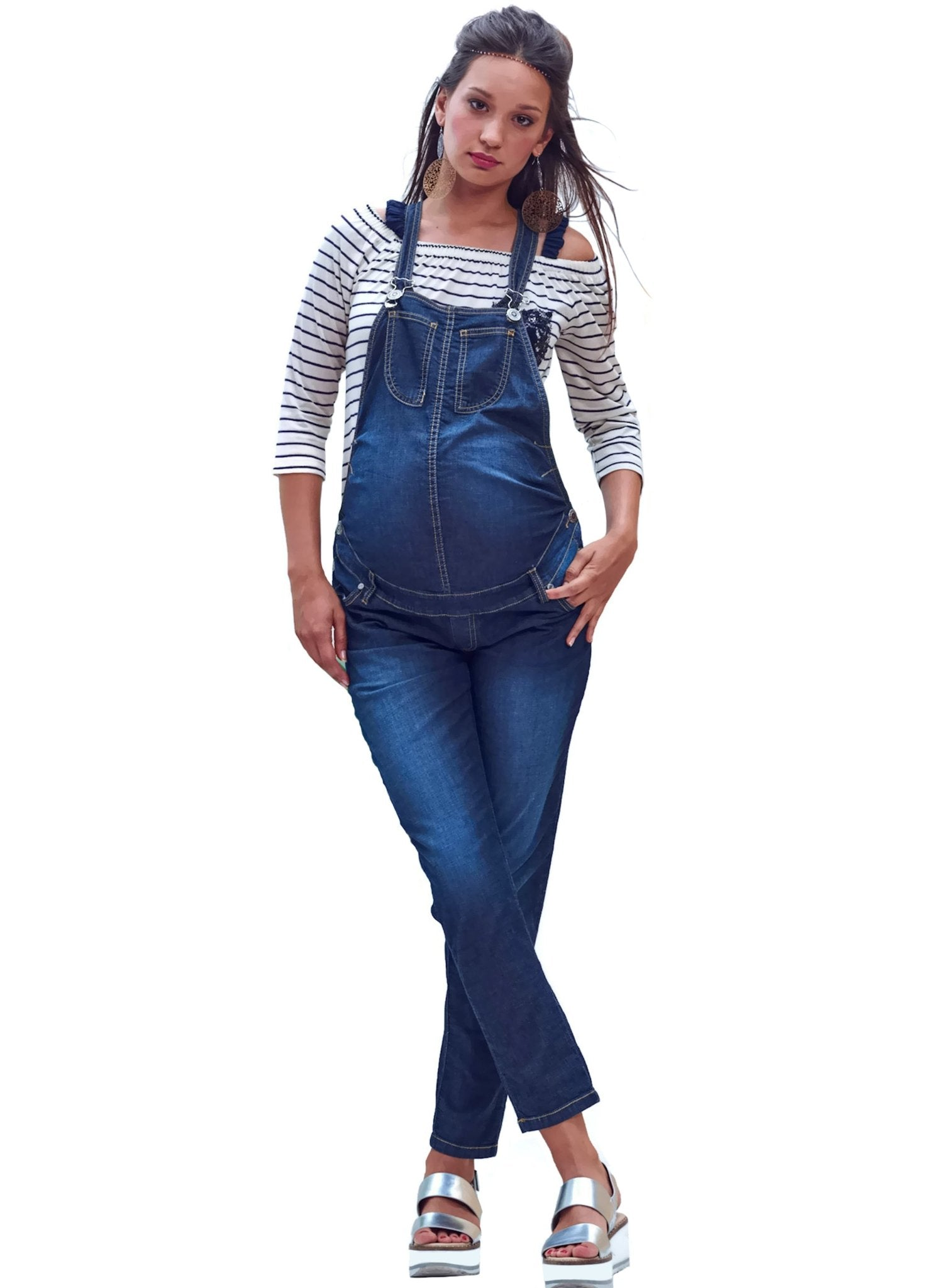 Maternity Denim Long Dungaree - Mums and Bumps