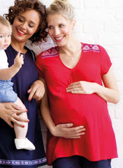 Maternity Embroidered Blouse - Red - Mums and Bumps