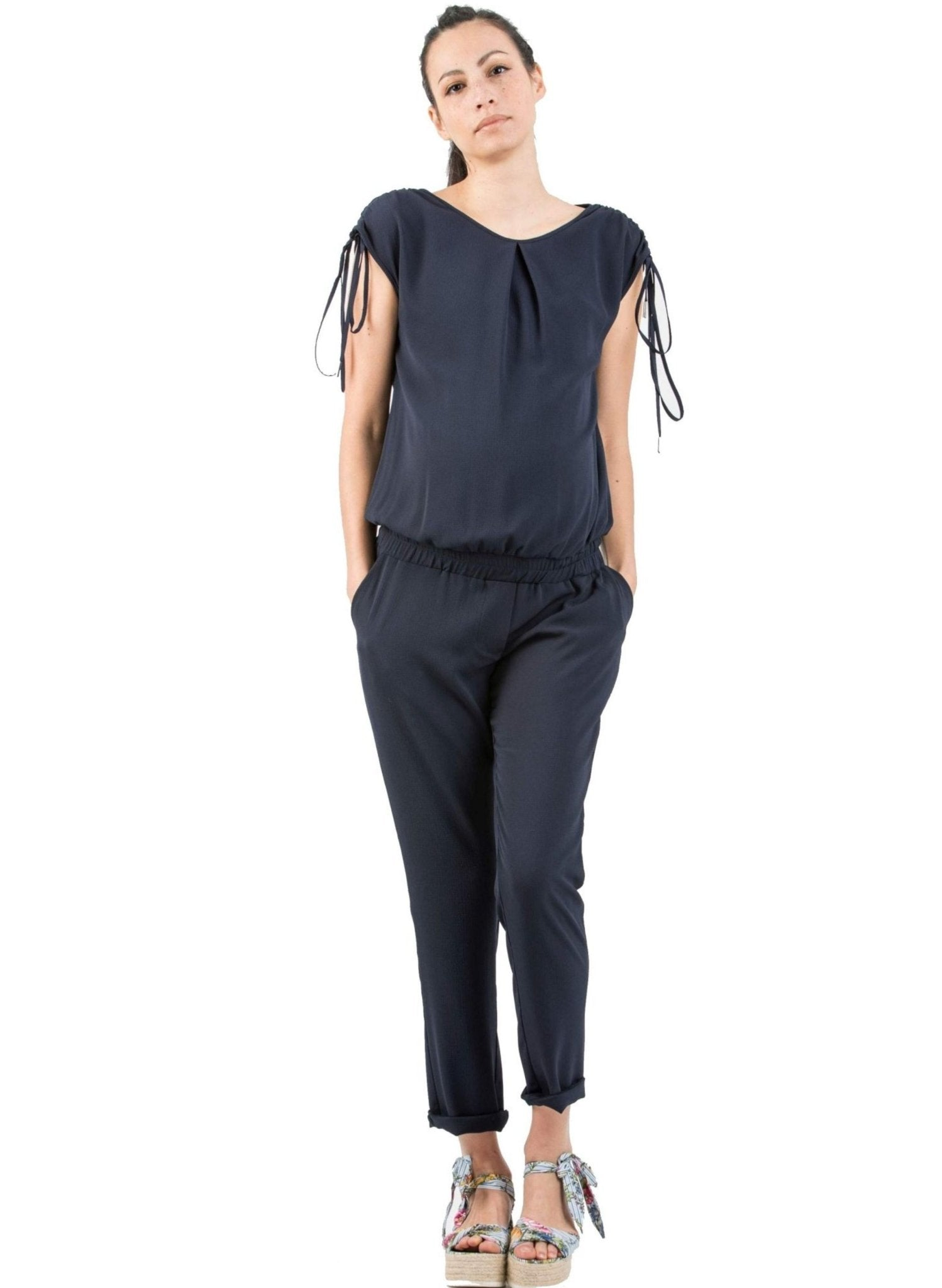 Maternity Jumpsuit with Shoulder Detail - Mums and Bumps