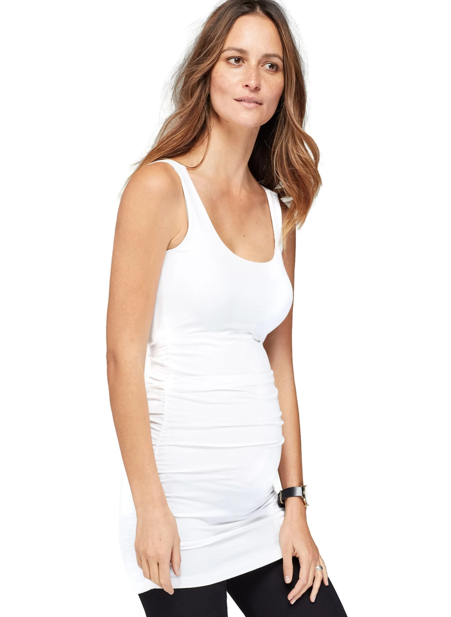 Maternity Layering Tank - White - Mums and Bumps