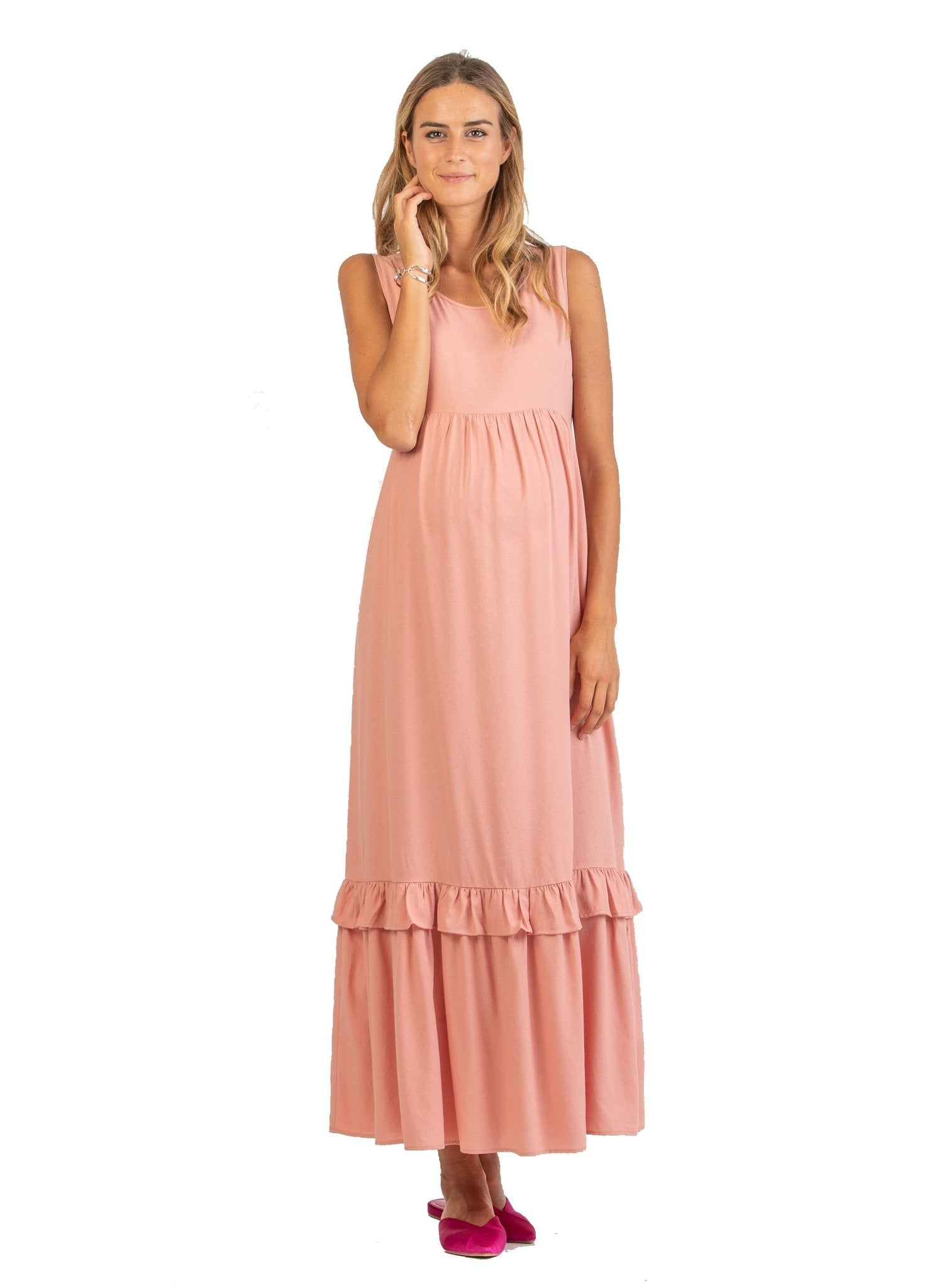 Maternity Long Dress with Volant and Balza - Pink - Mums and Bumps
