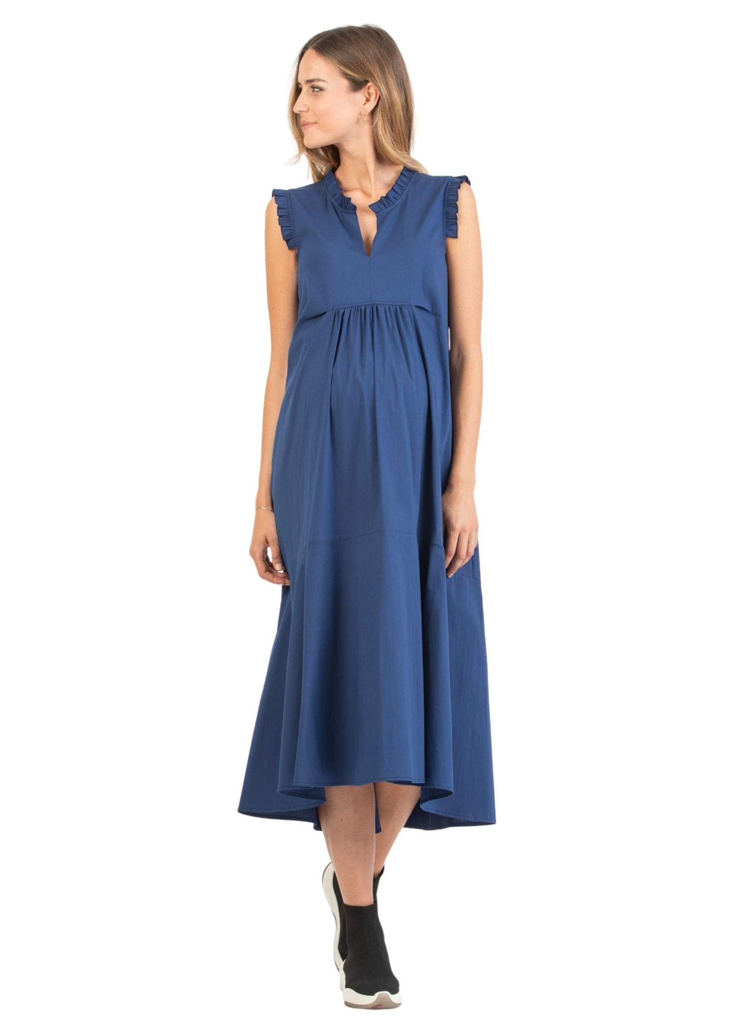 Maternity Midi Dress with Frill Trims - Blue - Mums and Bumps