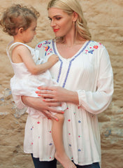Maternity & Nursing Blouse Aerial Roots in White - Mums and Bumps