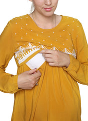 Maternity & Nursing Embroidered Blouse - Mustard - Mums and Bumps