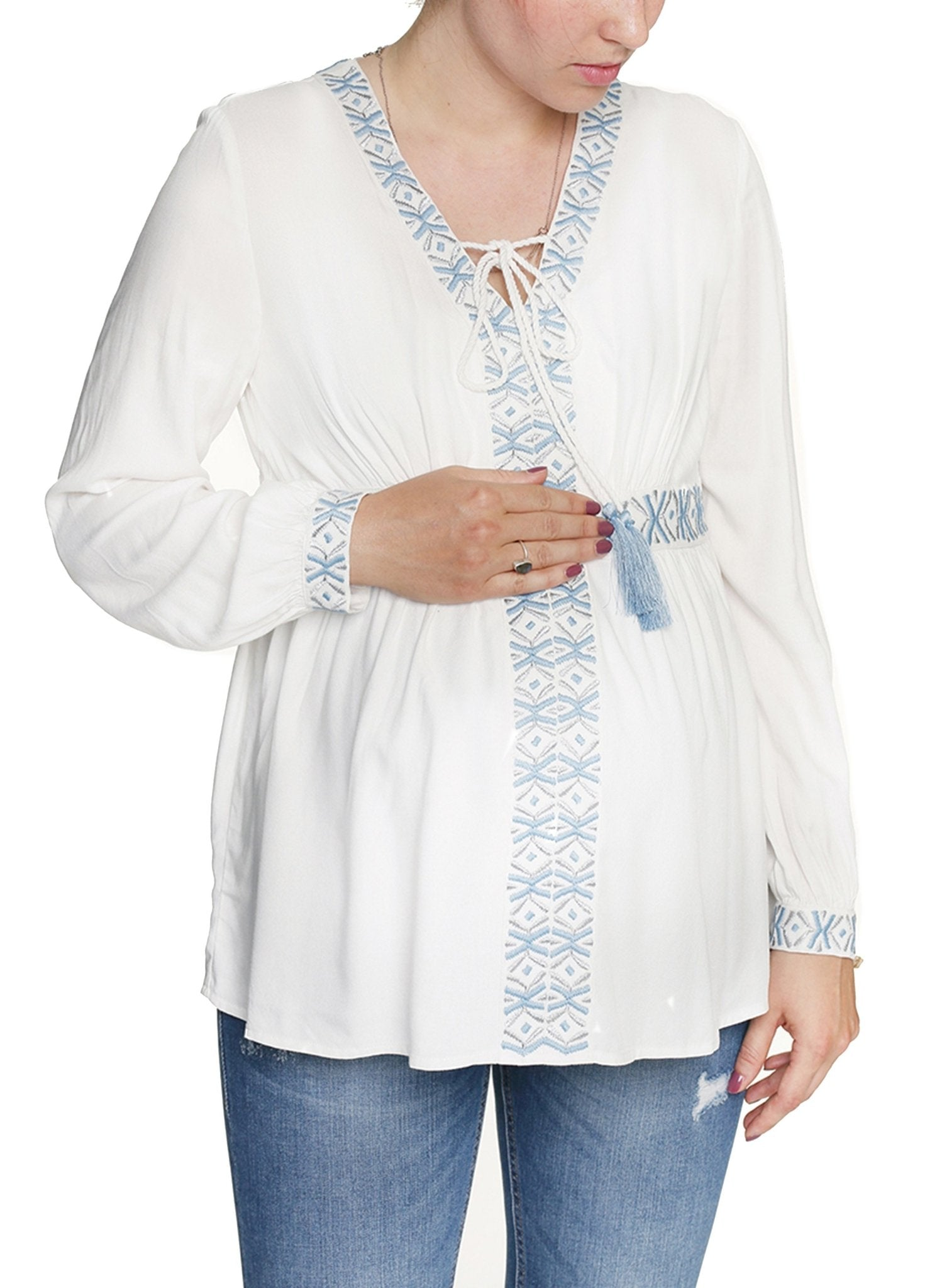 Maternity & Nursing Embroidered Blouse - Off White - Mums and Bumps
