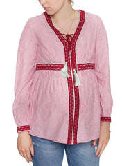 Maternity & Nursing Embroidered Blouse - Stripes - Mums and Bumps