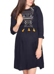 Maternity & Nursing Embroidered Dress - Heaven Bells - Mums and Bumps