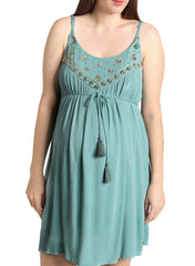 Maternity & Nursing Embroidered Dress - Mint - Mums and Bumps