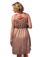 Maternity & Nursing Embroidered Dress - Pink/Red - Mums and Bumps