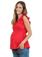 Maternity Top in Piqué with Front String - Red - Mums and Bumps