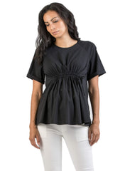 Maternity Top with Drawstring - Black - Mums and Bumps