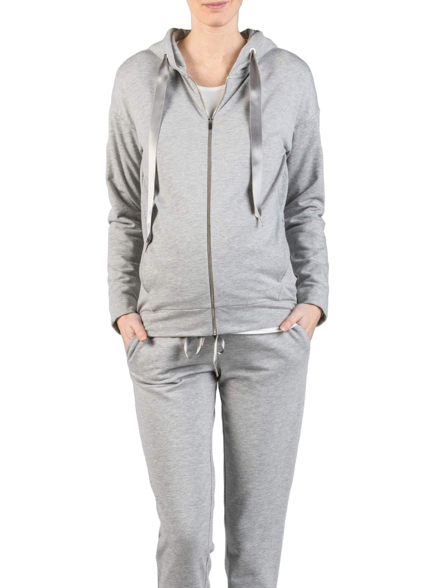Maternity Tracksuit (2 Piece Set) - Grey - Mums and Bumps