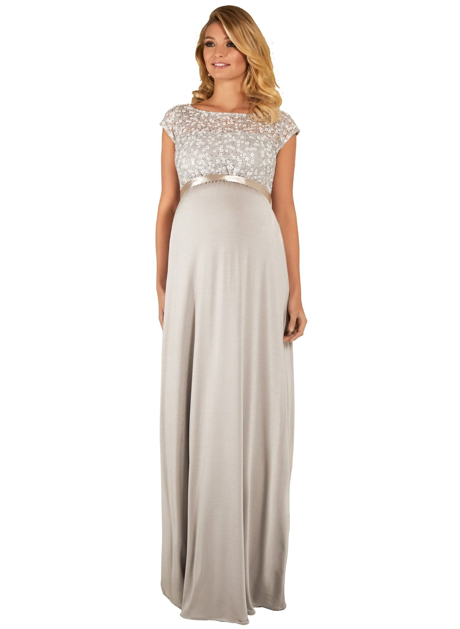 Mia Maternity Gown - Silver - Mums and Bumps