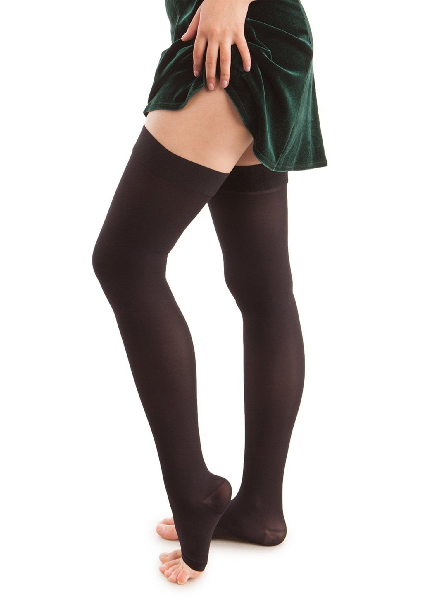 Microfiber Open Toe Thigh Highs - Strong Compression - Black - Mums and Bumps