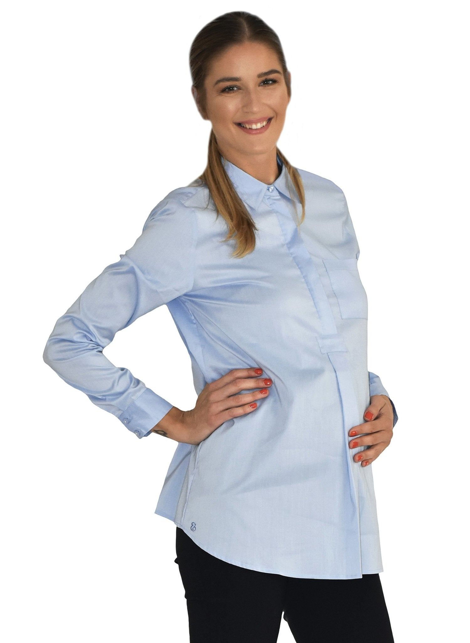 Munich Maternity Shirt - Mid Blue - Mums and Bumps