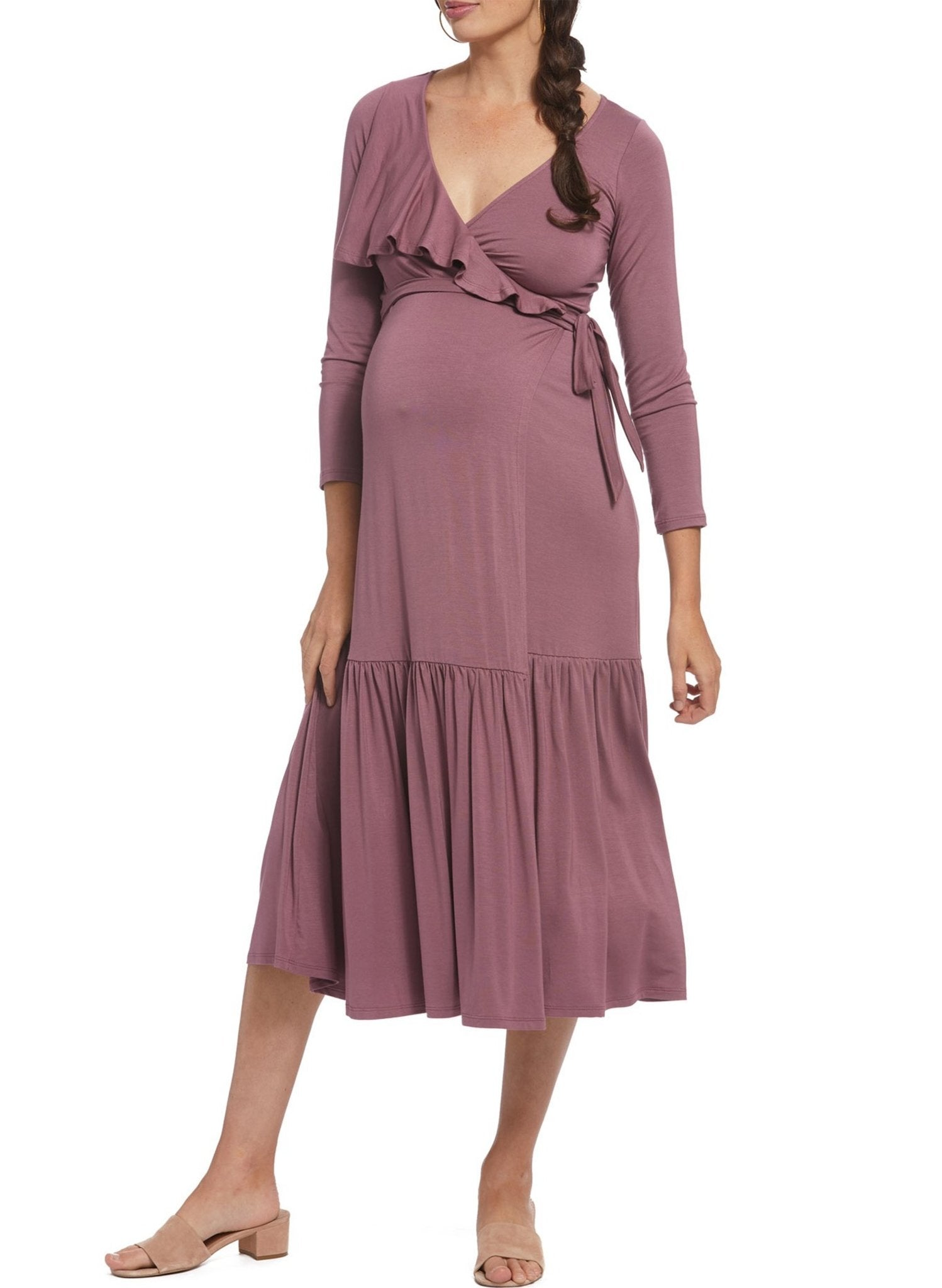 Nadine Maternity Wrap Dress - Cameo - Mums and Bumps