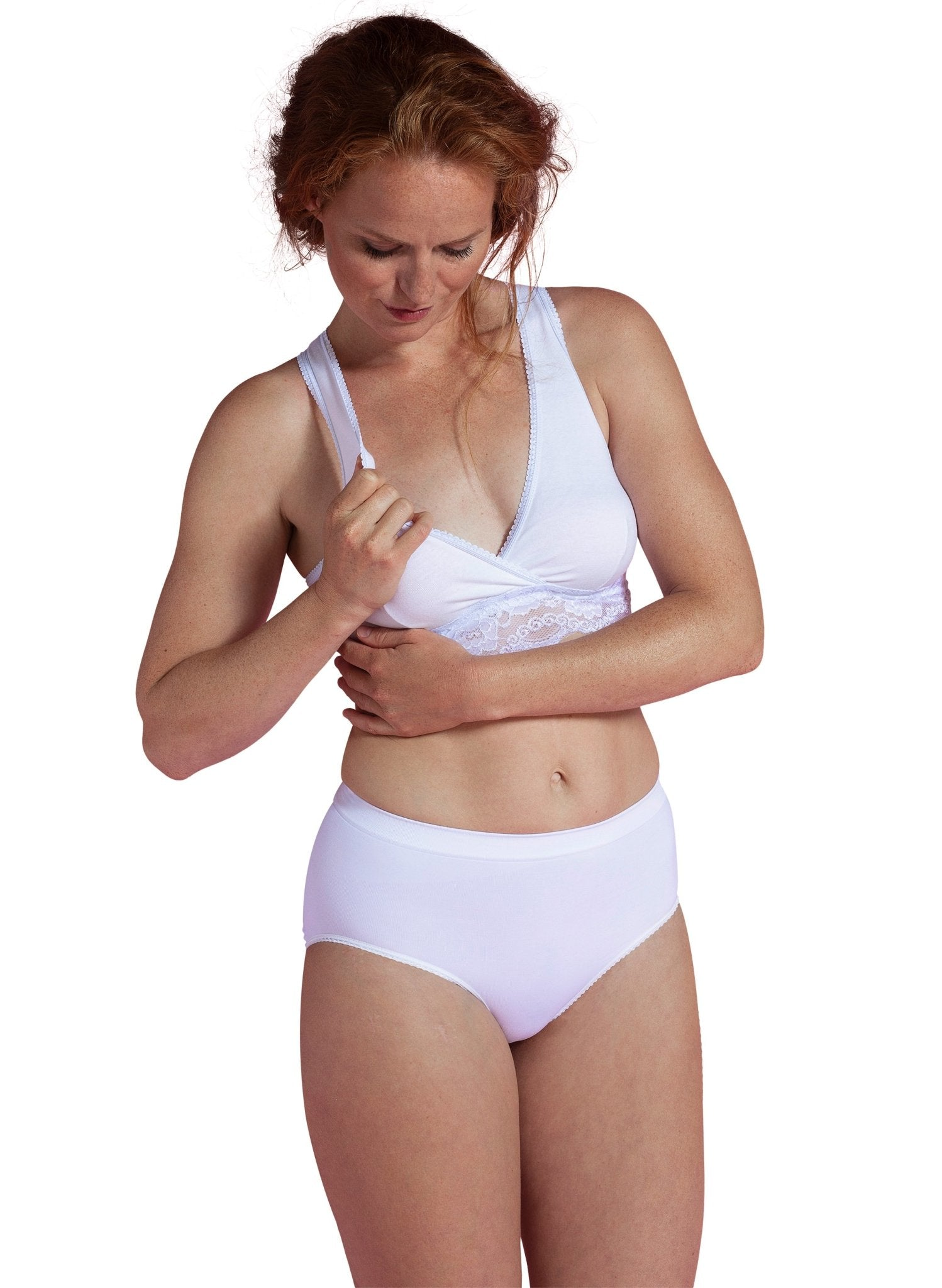 Organic Crossover Nursing & Sleep Bra - White - Mums and Bumps