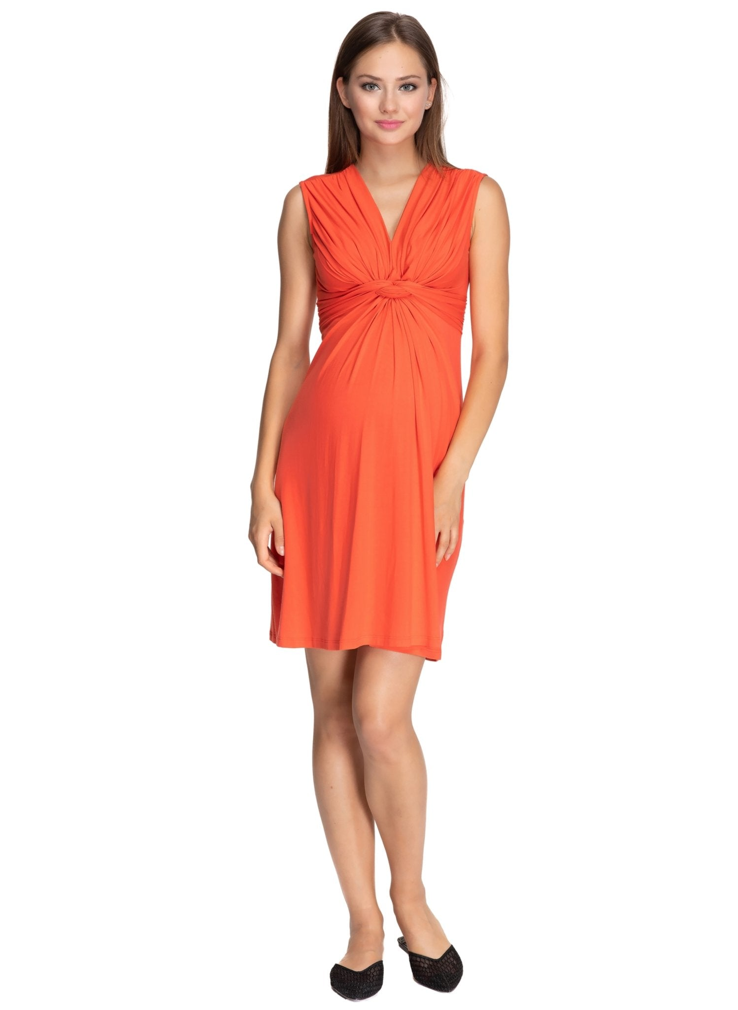 Papaver Maternity Dress - Bright Orange - Mums and Bumps