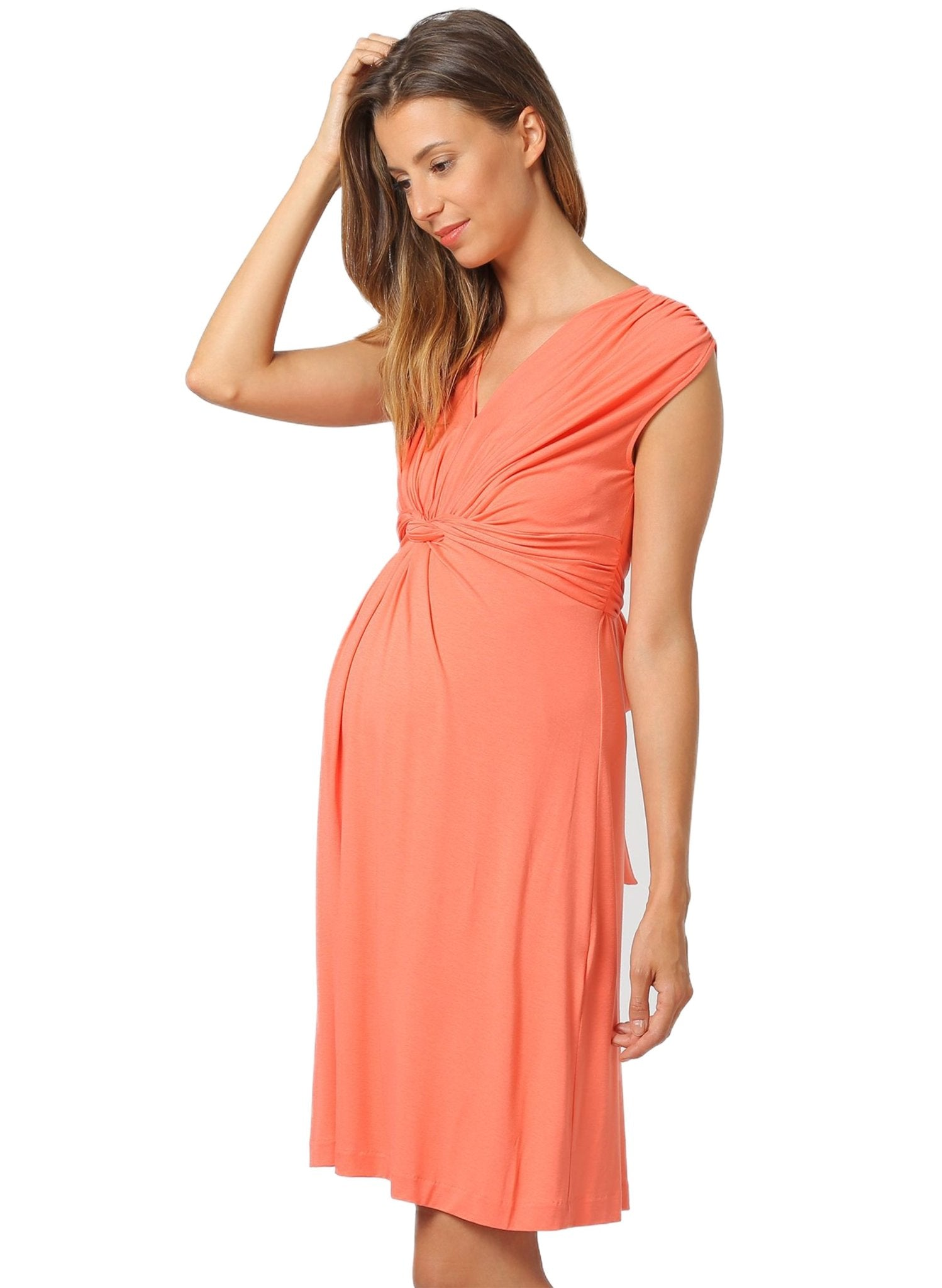 Papaver Maternity Dress - Coral - Mums and Bumps