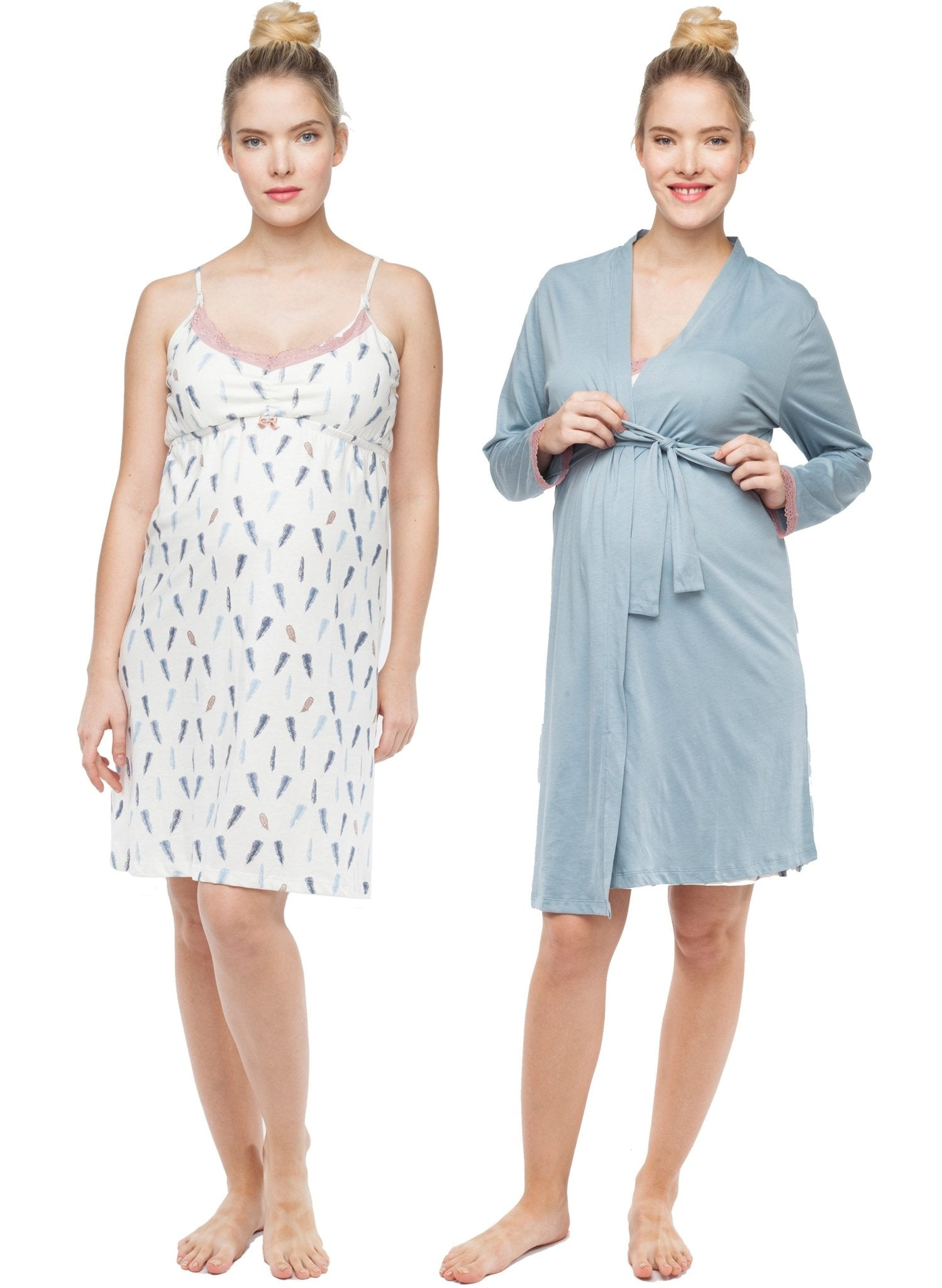 Plume Maternity/Nursing Chemise & Robe 2-Piece Set - Mums and Bumps