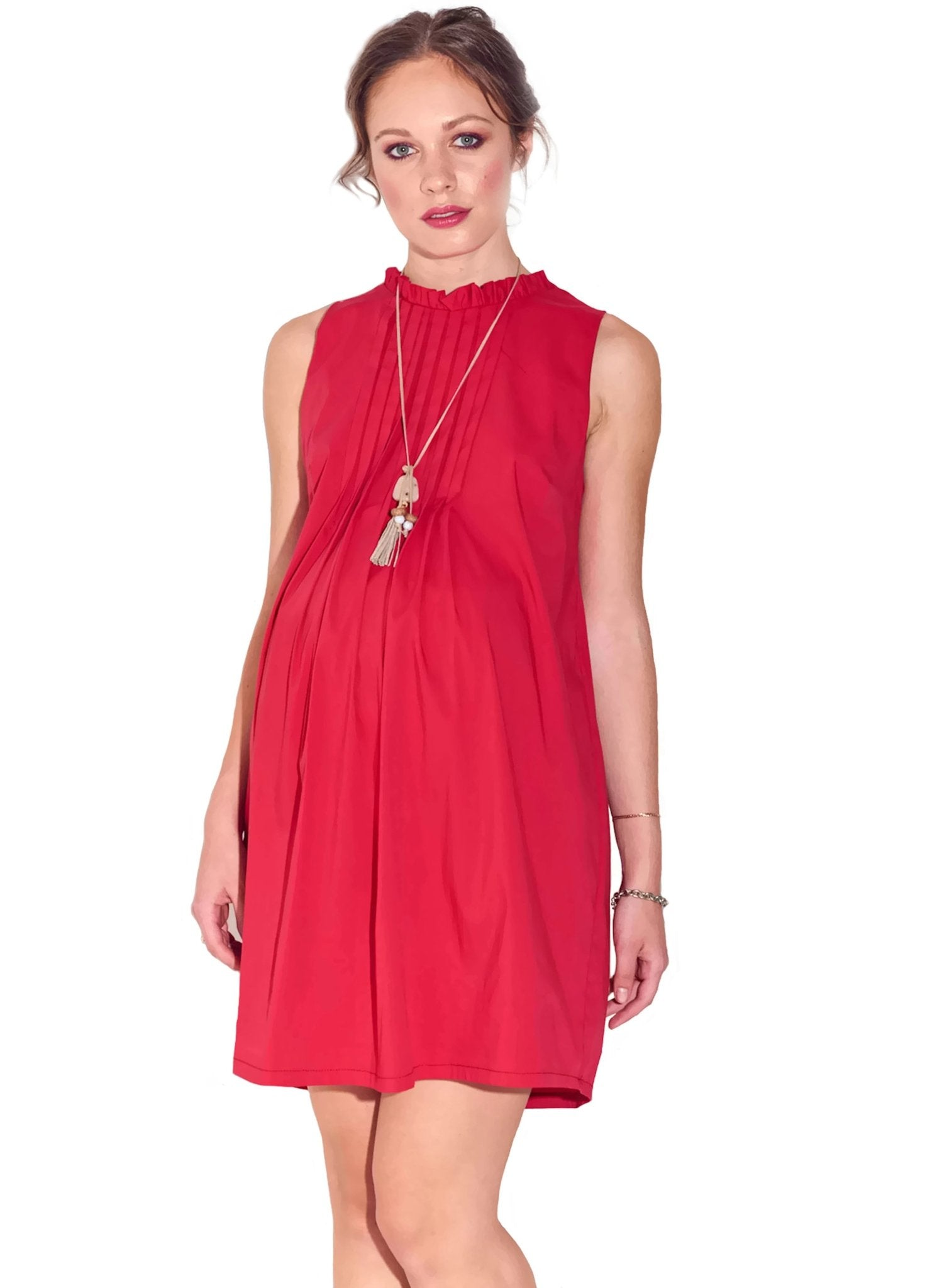 Red Ruffled Neck Dress - Mums and Bumps