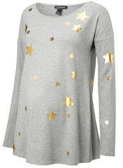 Rosie Print Maternity Top - Heather Grey & Gold Stars - Mums and Bumps