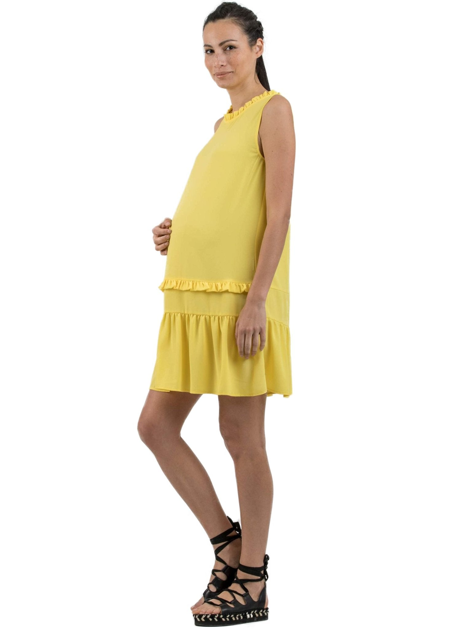Ruffle Maternity Dress - Yellow - Mums and Bumps