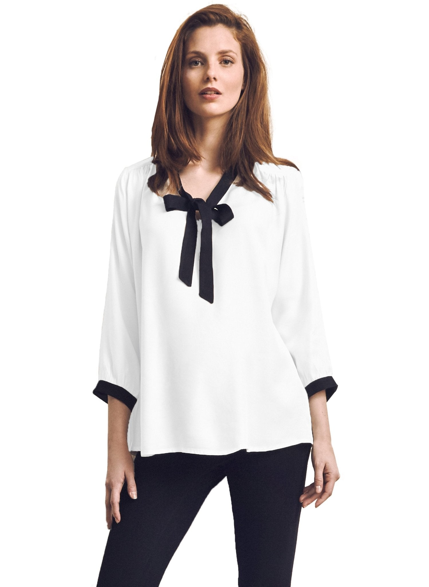 Serena Neck Tie Maternity Blouse - Off White - Mums and Bumps
