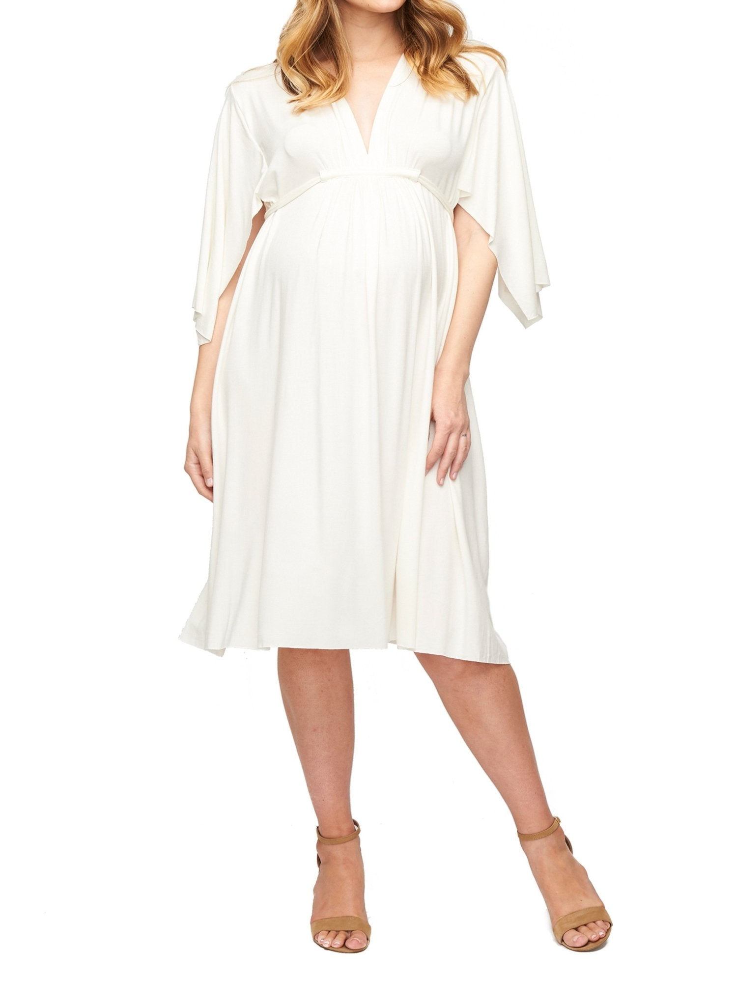 Short Caftan Maternity Dress - White - Mums and Bumps