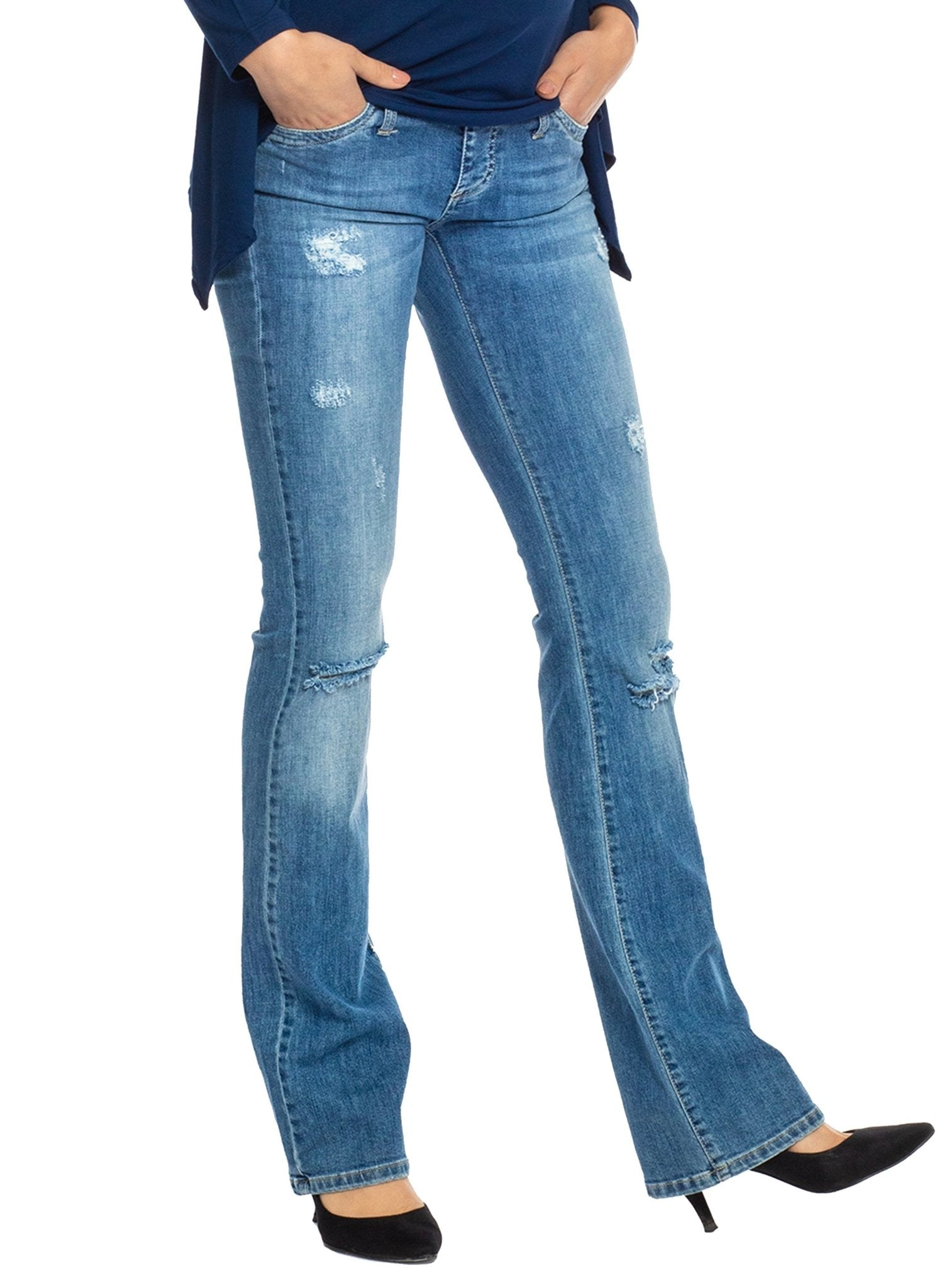 Slim Bootcut Maternity Jeans - Light Wash - Mums and Bumps