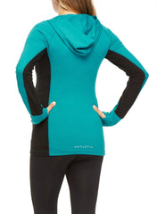 Stability Pull Over Maternity Hoodie - Teal/Black - Mums and Bumps