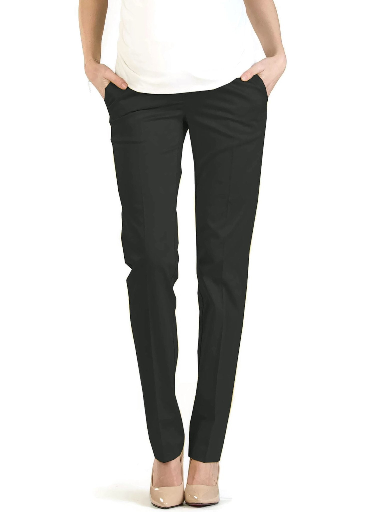 Straight Leg Maternity Trouser - Black - Mums and Bumps