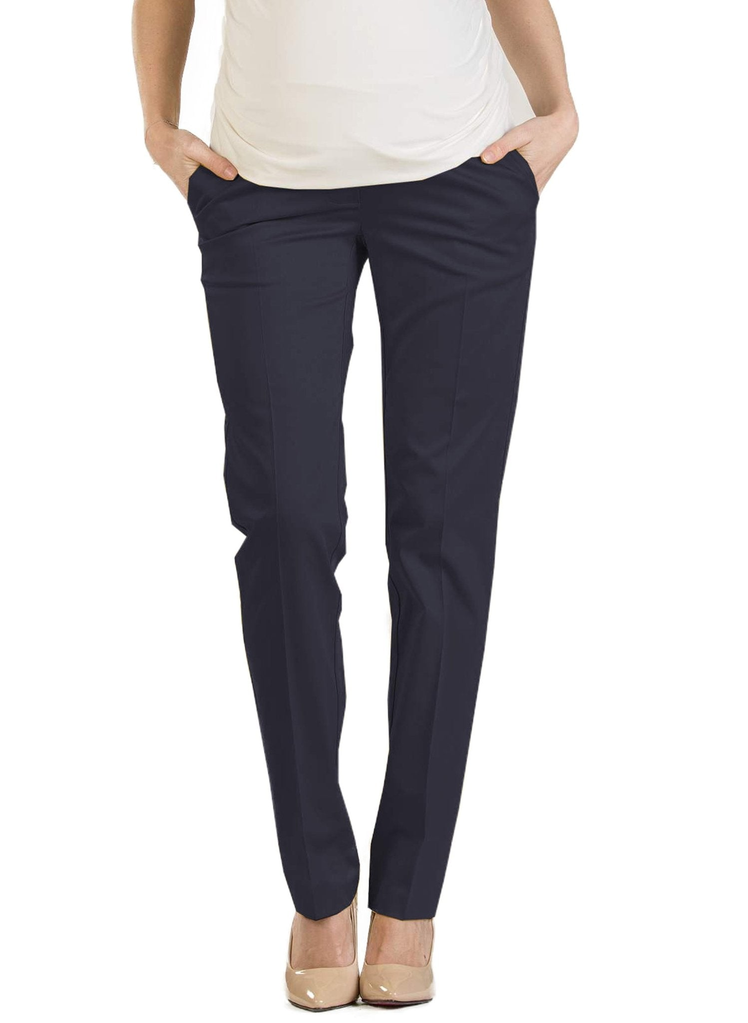 Straight Leg Maternity Trouser - Navy - Mums and Bumps