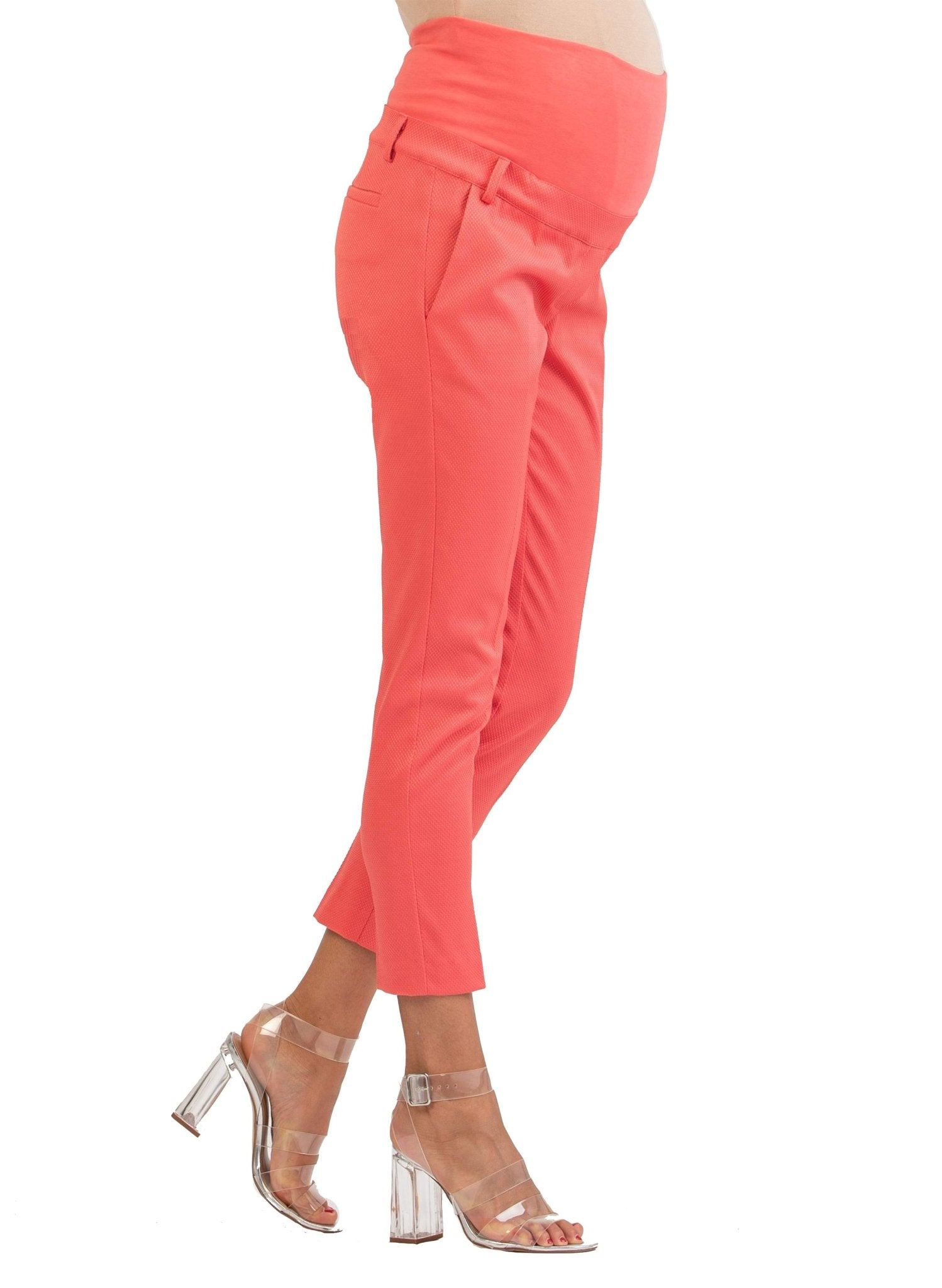 Tailored Maternity Trousers in Pique - Coral - Mums and Bumps