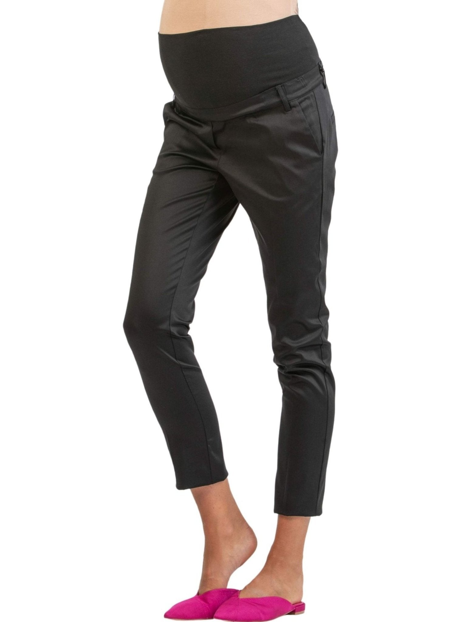 Tailored Maternity Trousers in Stretch-Cotton - Black - Mums and Bumps