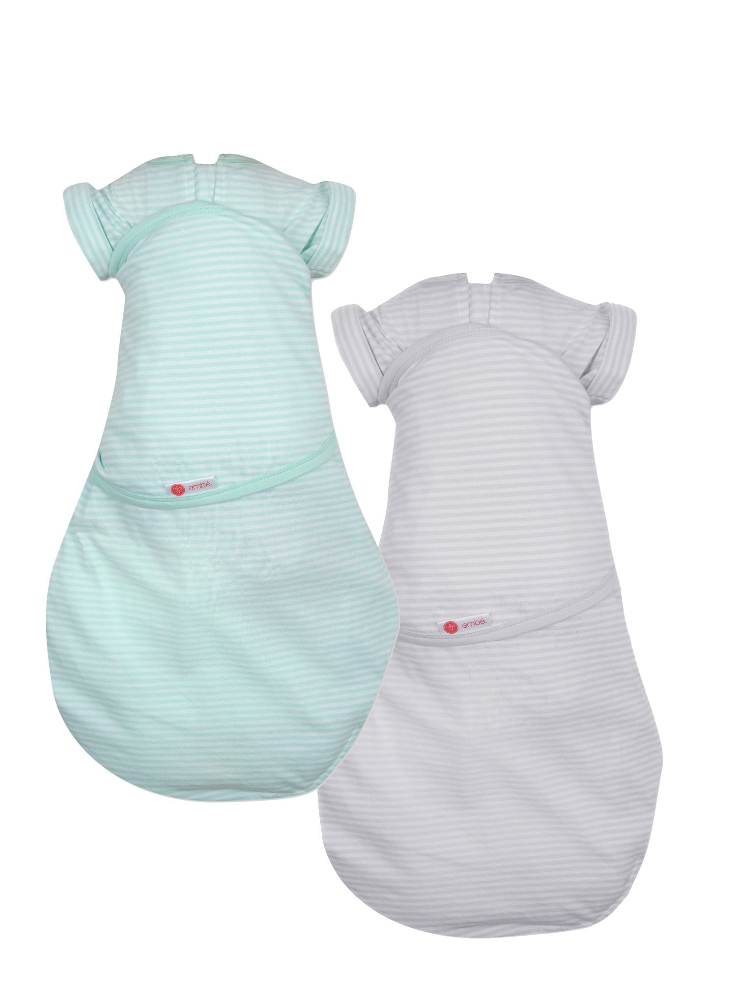 Transitional 2-Way Swaddle (3-6M) Combo - Mint + Grey Stripes - Mums and Bumps