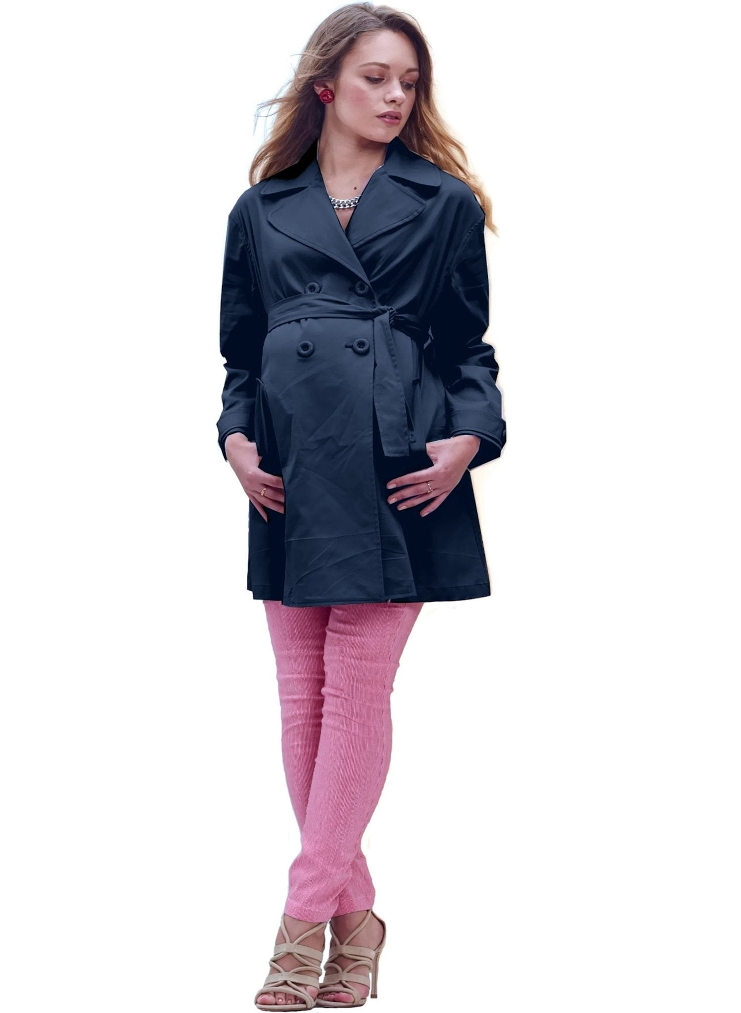 Trench Drill Maternity Coat - Mums and Bumps