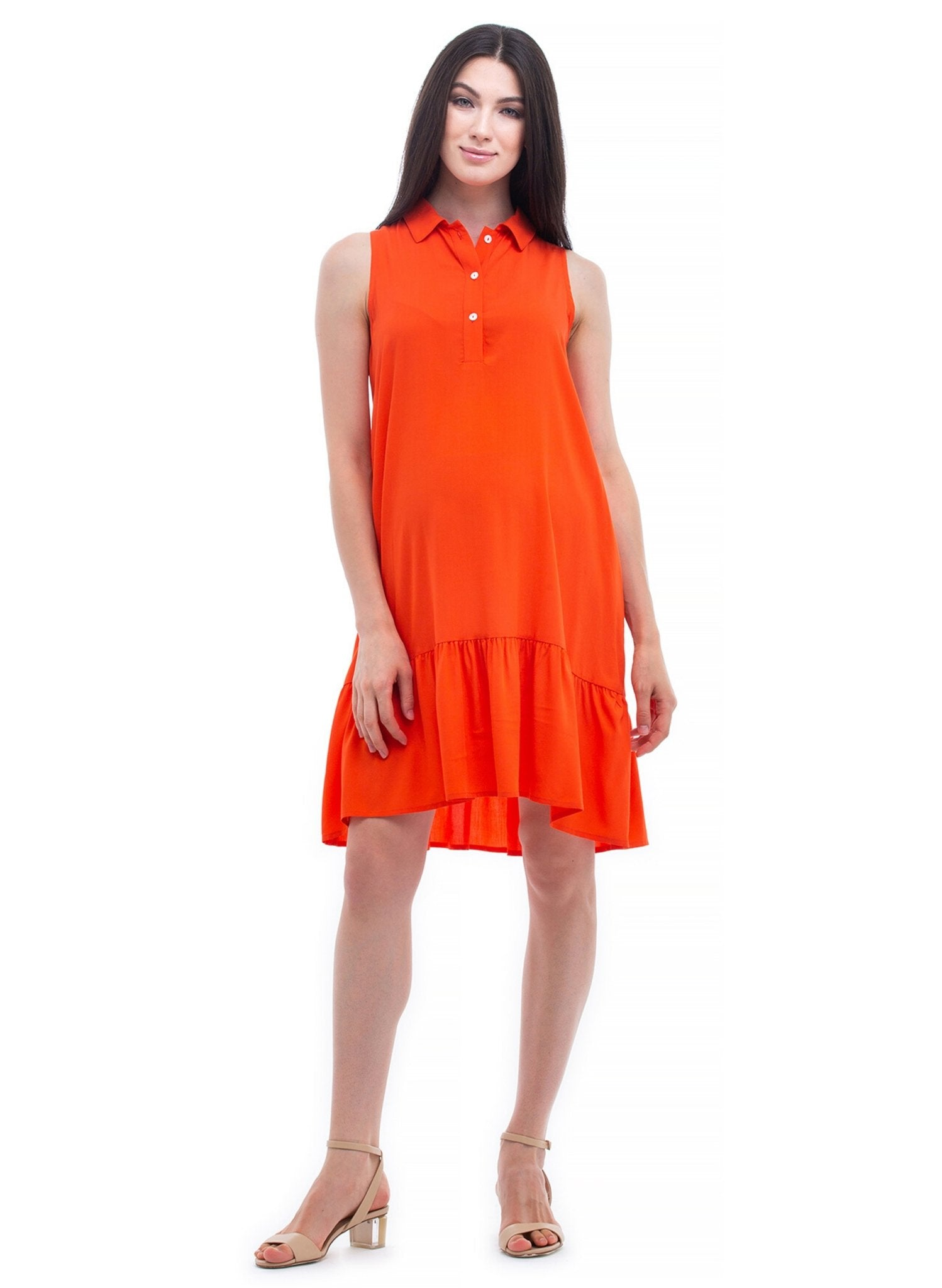 Vittoria Mini Maternity Dress - Spicy Orange - Mums and Bumps