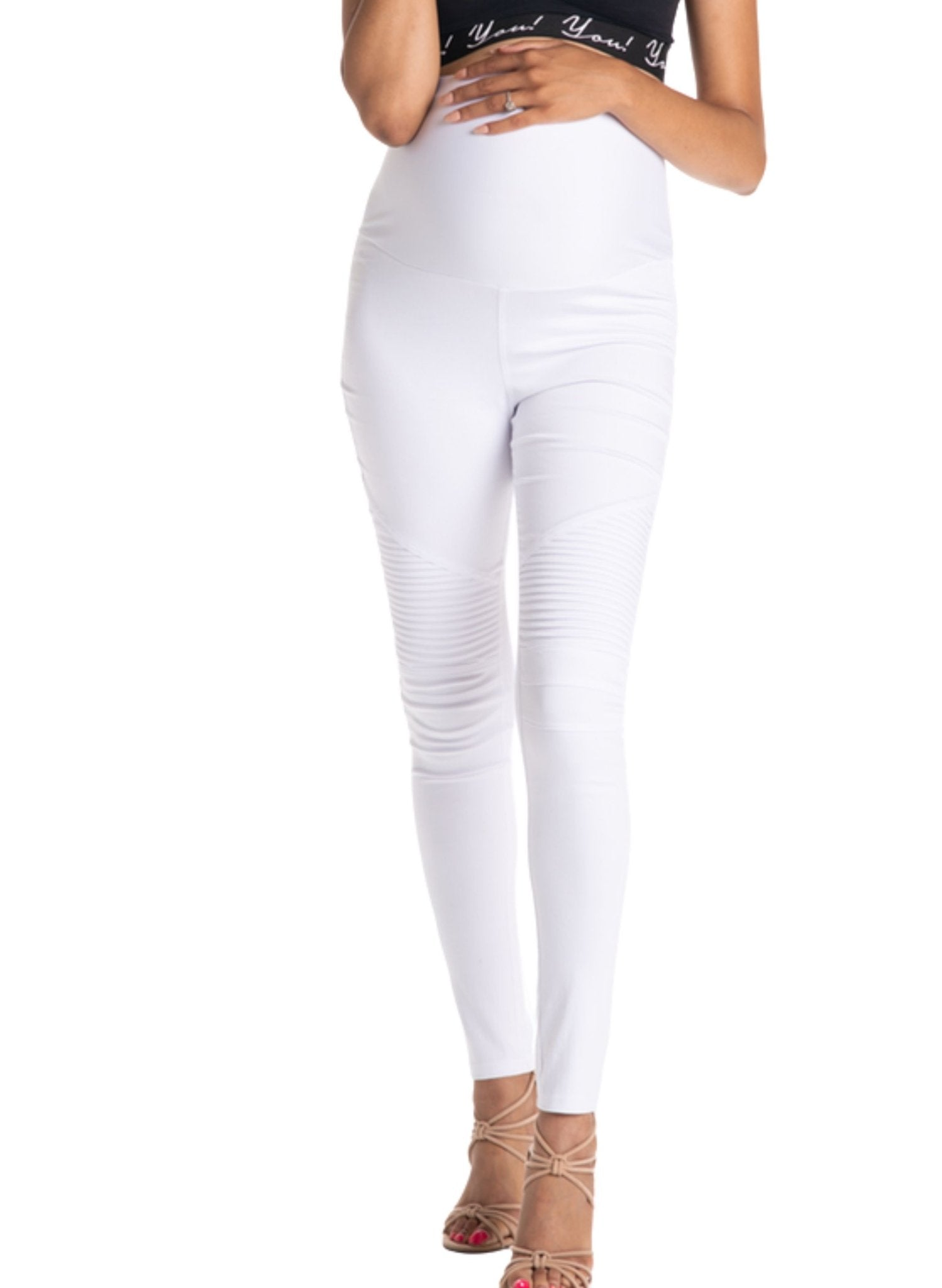 White Out Moto Maternity Leggings - Mums and Bumps