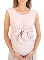 Wide Leg Maternity Jumpsuit with Front Ribbon - Pink - Mums and Bumps